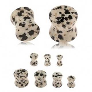 Plug do ucha z jaspisu dalmatínskeho, sivohnedý odtieň, čierne a hnedé škvrny - Hrúbka: 10 mm