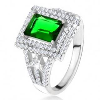 Prsteň s obdĺžnikovým zeleným zirkónom, dvojitý číry lem, šípky, striebro 925 - Veľkosť: 49 mm