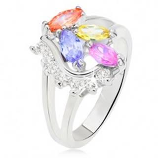 Prsteň s rozdvojenými ramenami, farebné zrniečkové kamienky, číra oblá línia - Veľkosť: 51 mm