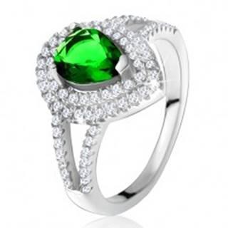 Prsteň so zeleným slzičkovým kameňom, dvojitý číry lem, striebro 925 - Veľkosť: 49 mm