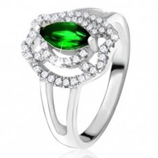 Prsteň so zeleným zrniečkovým kameňom, zirkónové oblúky, striebro 925 - Veľkosť: 49 mm