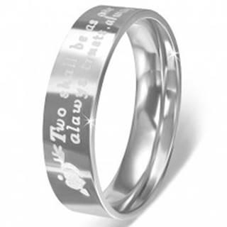 Prsteň z nerezovej ocele - srdcia so šípom a vyznanie lásky - Veľkosť: 52 mm