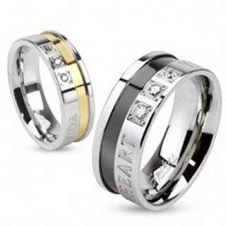 Prsteň z ocele 316L, strieborná a čierna farba, zaľúbený nápis, zirkóny, 8 mm - Veľkosť: 60 mm