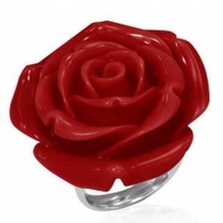 Prsteň z ocele - červená vykvitnutá ruža zo živice - Veľkosť: 51 mm