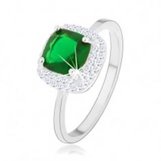 Prsteň zo striebra 925, zelený brúsený zirkón - štvorec, trblietavý lem - Veľkosť: 46 mm