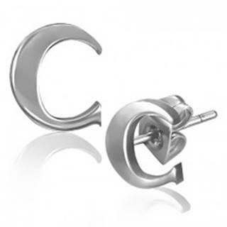 Puzetové náušnice z ocele - hladké písmeno C