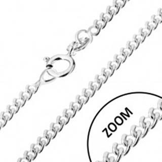 Retiazka zo zatočených oválnych očiek, striebro 925, šírka 1,7 mm, dĺžka 450 mm