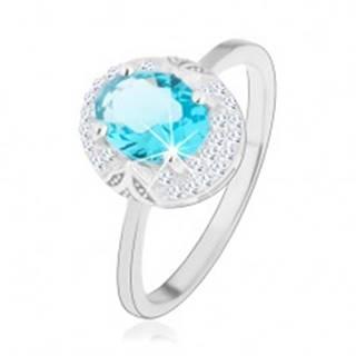 Ródiovaný prsteň, striebro 925, svetlomodrý zirkónový ovál, výrezy - Veľkosť: 46 mm