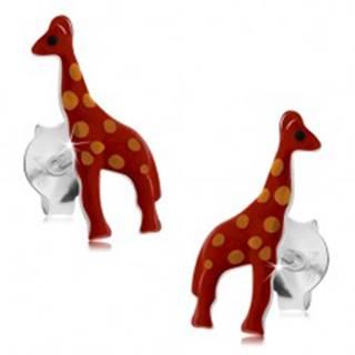Strieborné náušnice 925, lesklá červená žirafa s oranžovými bodkami, glazúra