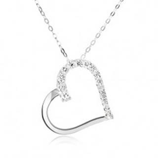 Strieborný 925 náhrdelník, retiazka a obrys súmerného srdca, číre kamienky