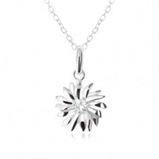 Strieborný 925 náhrdelník - retiazka a prívesok margarétky, číry zirkón
