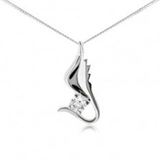 Strieborný 925 náhrdelník, retiazka, lesklé krídlo s čírym zirkónom