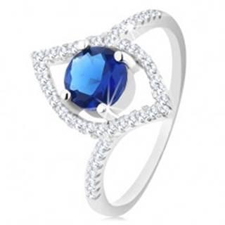 Strieborný 925 prsteň, ligotavý obrys zrnka, okrúhly modrý zirkón - Veľkosť: 51 mm