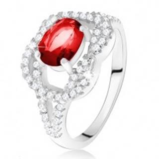 Strieborný 925 prsteň, oválny rubínový kameň, zirkónový uzol - Veľkosť: 50 mm