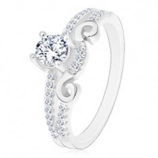 Strieborný 925 prsteň, rozdelené ramená, zirkón, ornament a zirkónová línia - Veľkosť: 50 mm