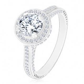 Strieborný 925 prsteň, žiarivý okrúhly zirkón čírej farby v trblietavom kruhu - Veľkosť: 48 mm