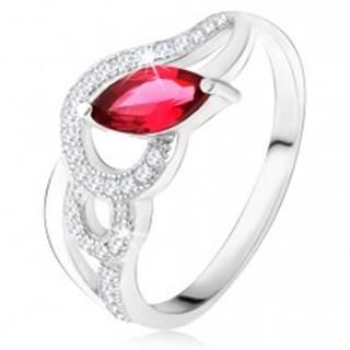 Strieborný 925 prsteň, zirkónové a hladké vlny, červený zrniečkový kameň - Veľkosť: 49 mm