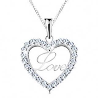 Strieborný náhrdelník 925, tenká retiazka, trblietavá kontúra srdca, nápis Love