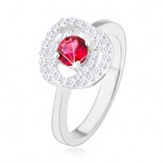 Strieborný prsteň 925, lesklé ramená, dvojitý lem, tmavoružový zirkón - Veľkosť: 49 mm