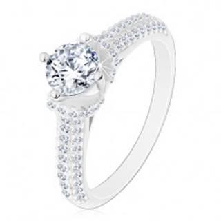 Strieborný prsteň 925, okrúhly číry zirkón, číre zirkónové ramená - Veľkosť: 49 mm