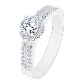 Strieborný prsteň 925, rozdelené zirkónové ramená, číry zirkón s lemom - Veľkosť: 50 mm