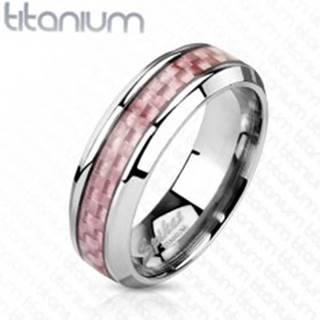 Titánová obrúčka striebornej farby, stredový pás z ružových vlákien, 6 mm - Veľkosť: 49 mm