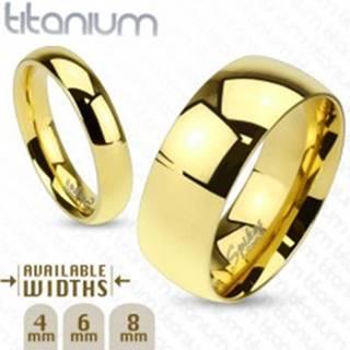 Zaoblená hladká titánová obrúčka v zlatom odtieni, 8 mm - Veľkosť: 59 mm