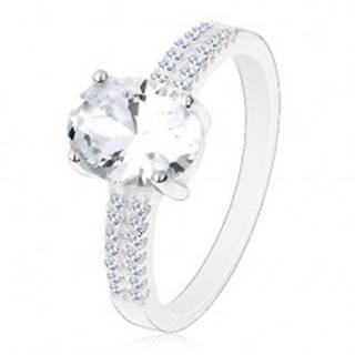 Zásnubný prsteň, striebro 925, veľký ligotavý ovál, zirkónové línie na ramenách - Veľkosť: 49 mm