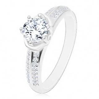 Zásnubný prsteň - striebro 925, žiarivý okrúhly zirkón, oblúčiky, ligotavé ramená - Veľkosť: 48 mm