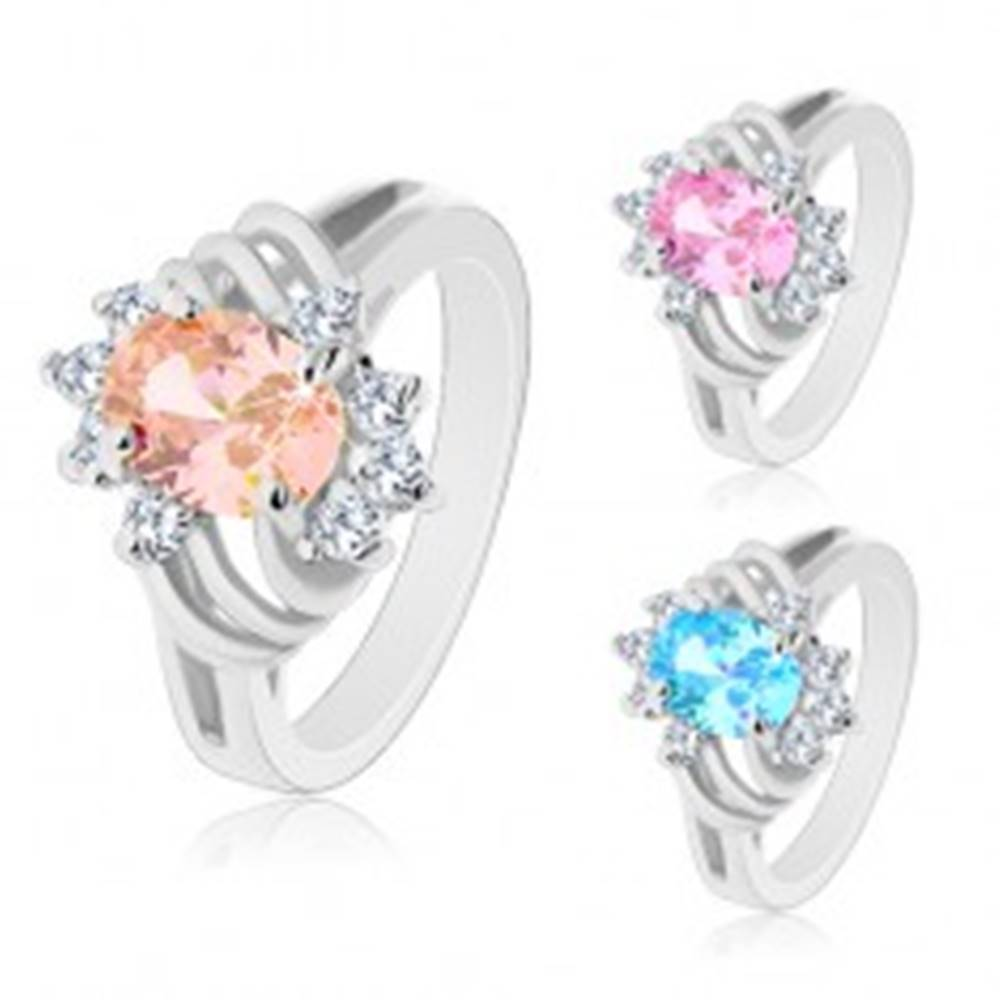 Šperky eshop Ligotavý prsteň striebornej farby, veľký farebný ovál, tenké oblúky a číre zirkóny - Veľkosť: 48 mm, Farba: Ružová