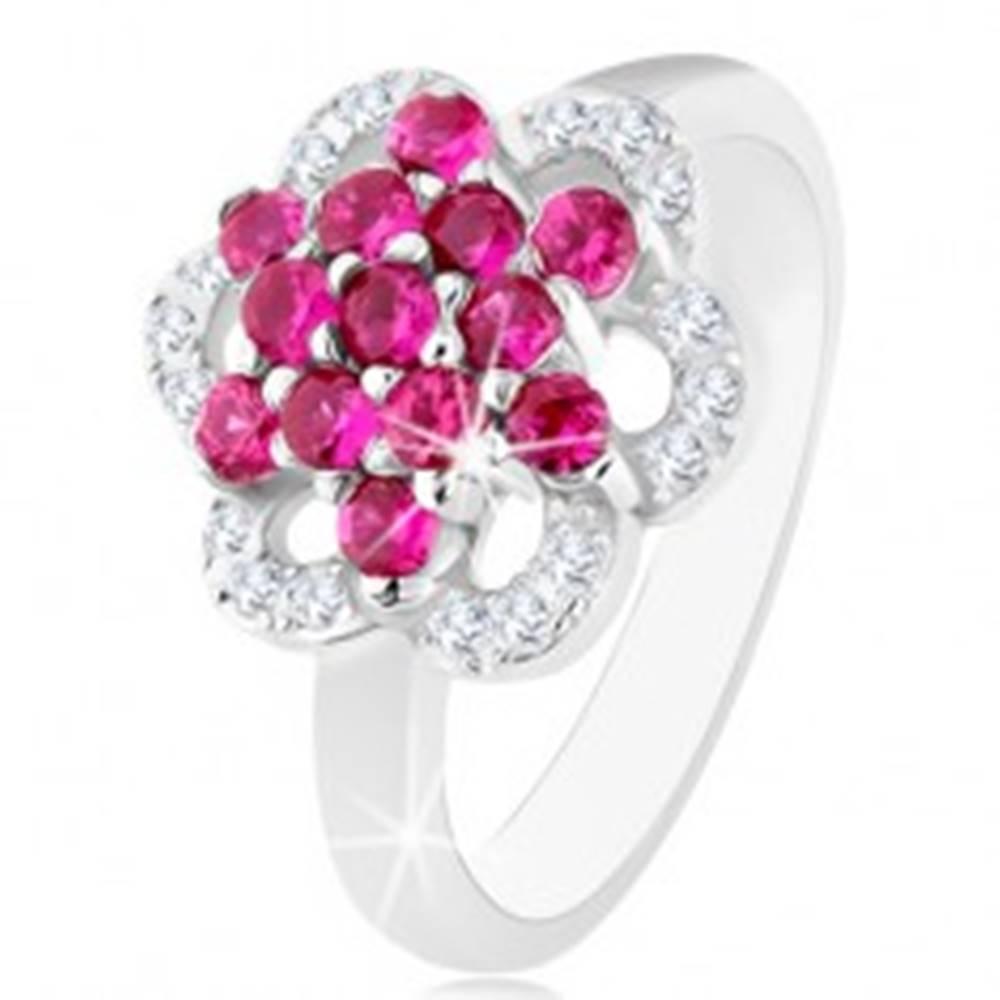 Šperky eshop Ligotavý prsteň, striebro 925, lesklé ramená, kvet z ružových a čírych zirkónov - Veľkosť: 50 mm