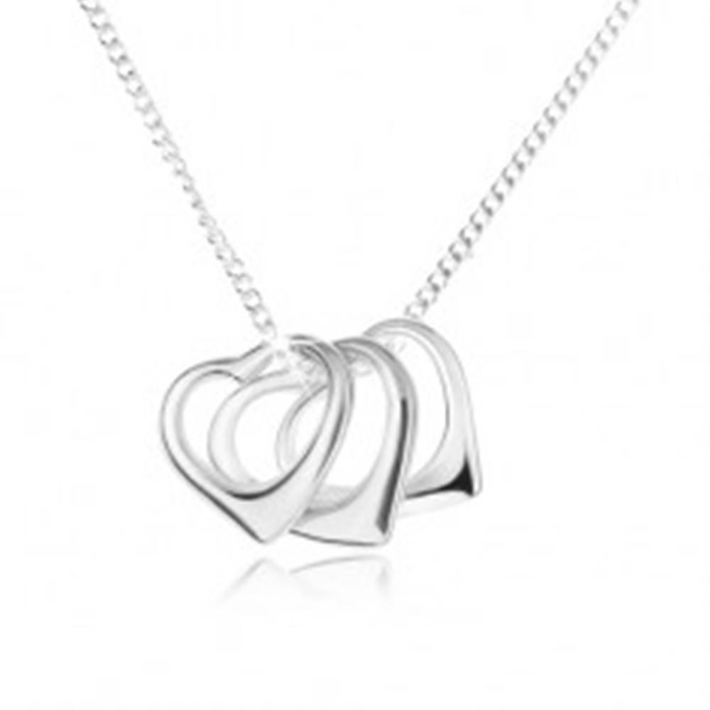 Šperky eshop Náhrdelník - retiazka a obrysy troch sŕdc, striebro 925