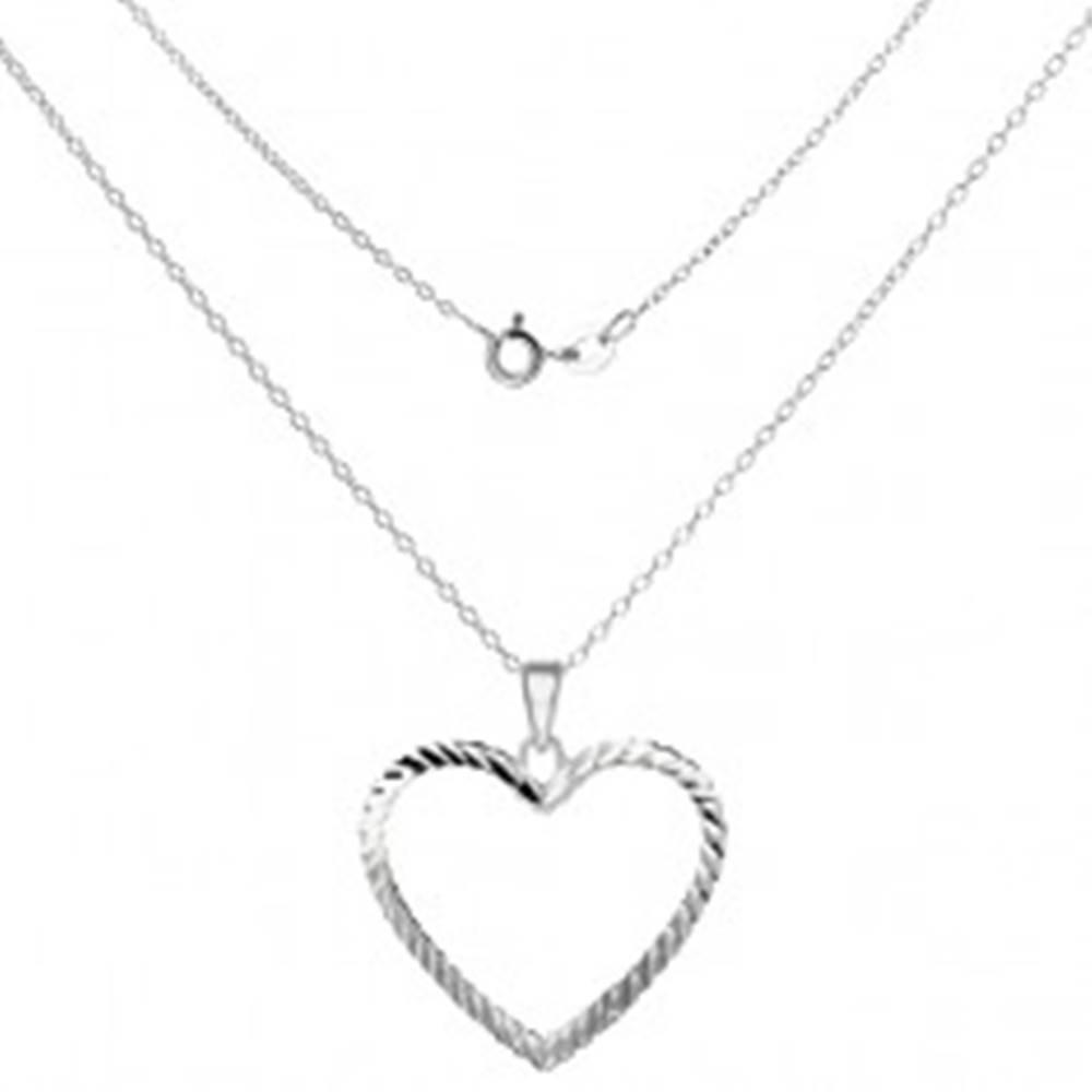 Šperky eshop Náhrdelník striebro 925 - lesklá retiazka s obrysom srdca