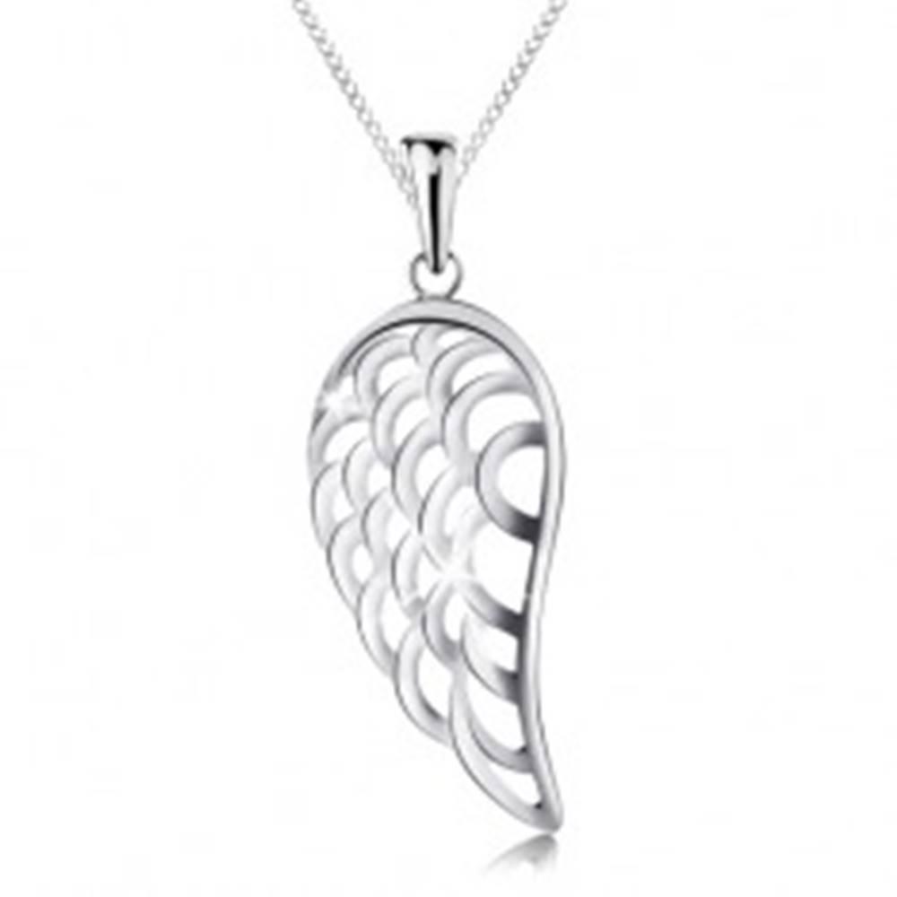 Šperky eshop Náhrdelník zo striebra 925 s príveskom, veľké anjelské krídlo, tenká retiazka