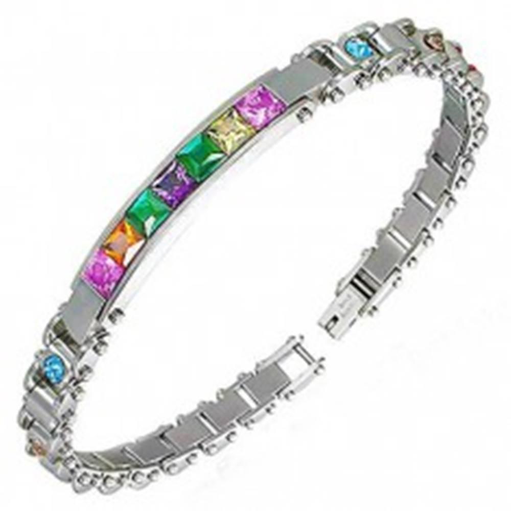 Šperky eshop Náramok na ruku z ocele 316L so známkou a farebnými zirkónmi