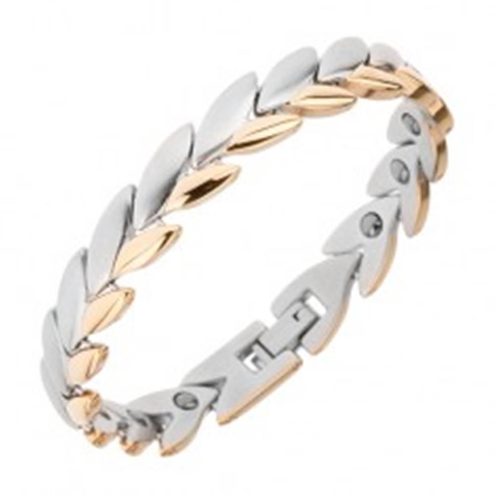 Šperky eshop Náramok z chirurgickej ocele, menšie lesklé lístky zlatej farby, magnety
