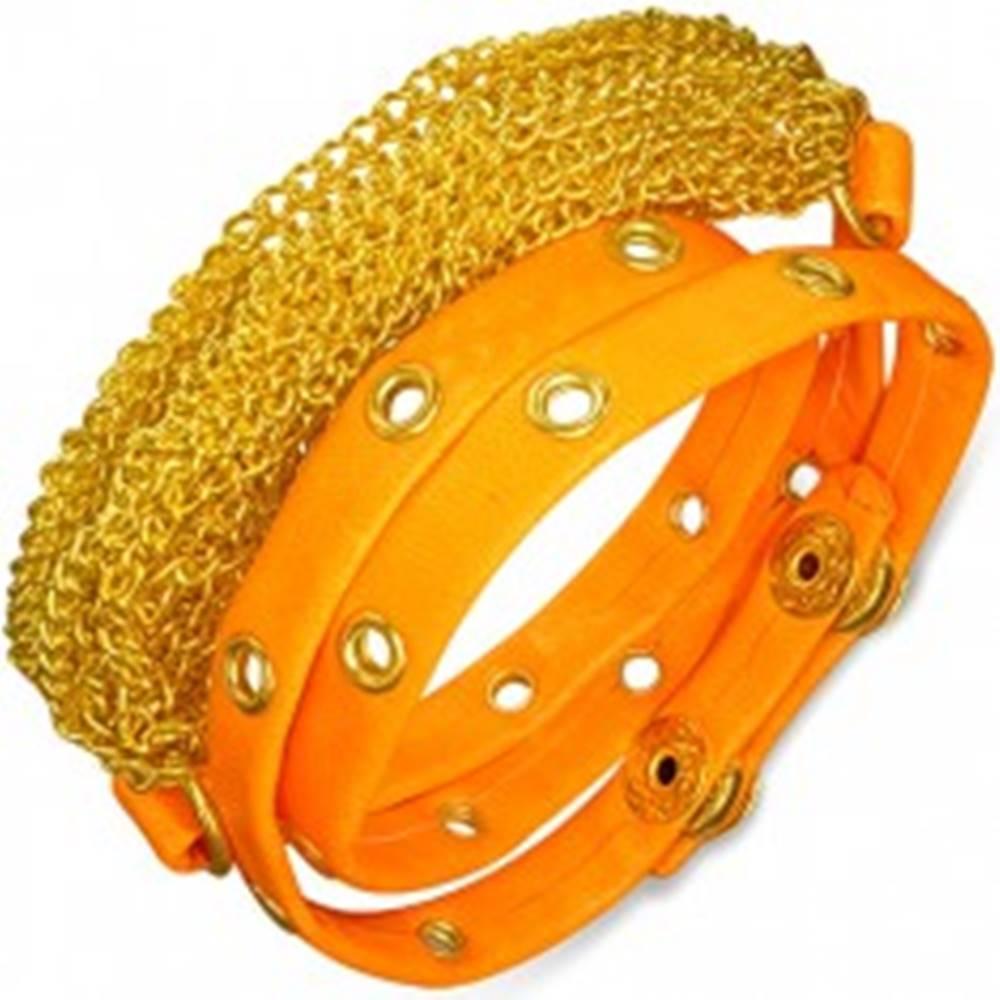Šperky eshop Náramok z umelej kože - retiazky zlatej farby, neónovo oranžový vybíjaný pás