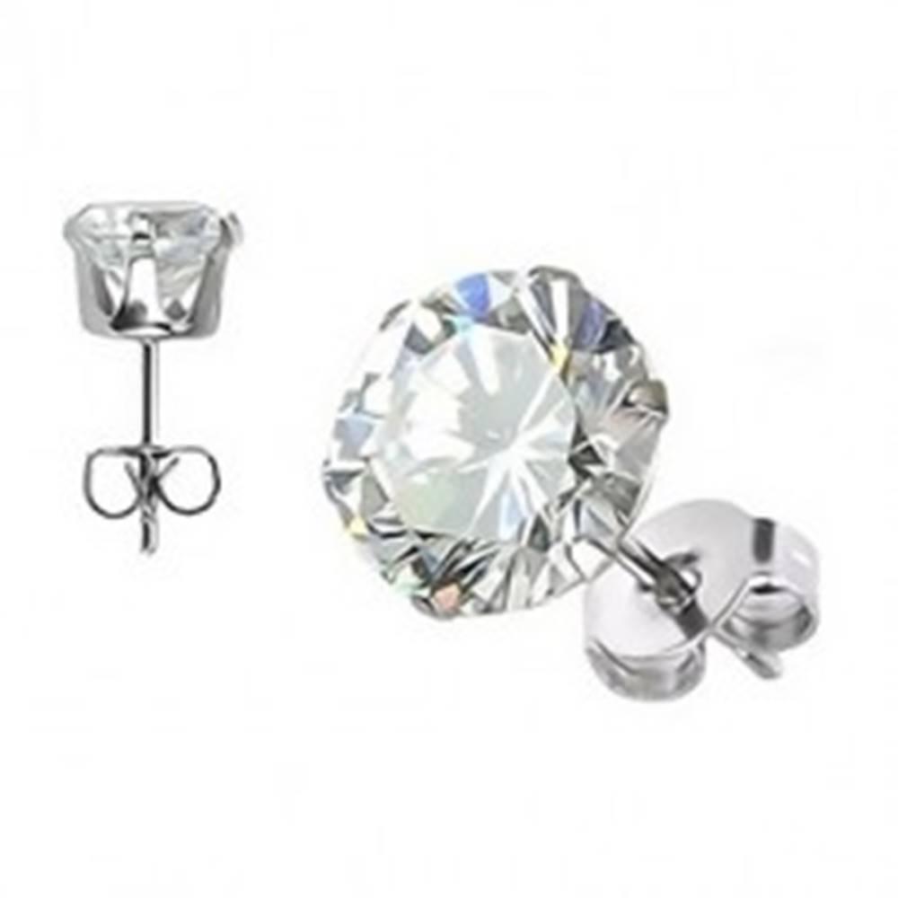 Šperky eshop Náušnice z chirurgickej ocele s čírym zirkónom, 6 mm