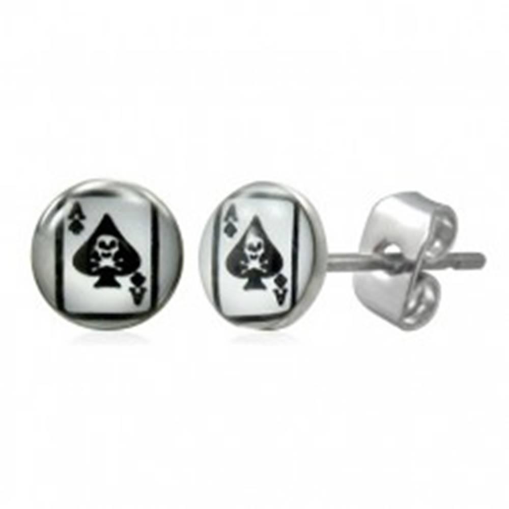 Šperky eshop Náušnice z chirurgickej ocele s kartou pikové eso