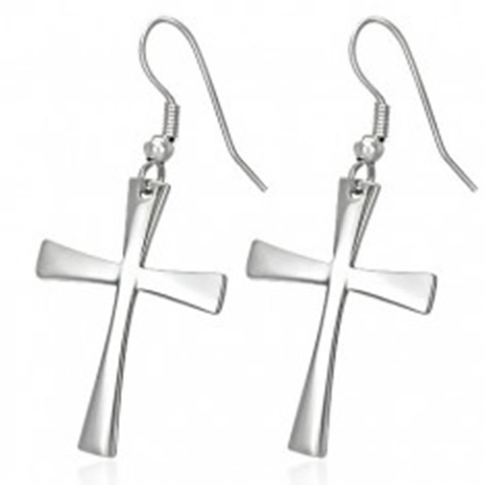 Šperky eshop Náušnice z chirurgickej ocele s krížom, strieborná farba, háčiky