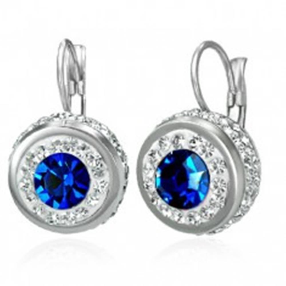 Šperky eshop Náušnice z ocele 316L s malými zirkónikmi a veľkým modrým zirkónom