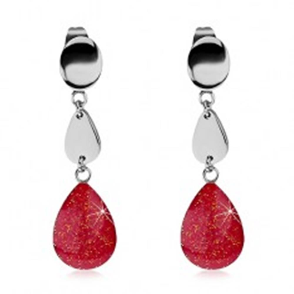 Šperky eshop Náušnice z ocele 316L so slzičkami, trblietavá ružová glazúra, puzetky