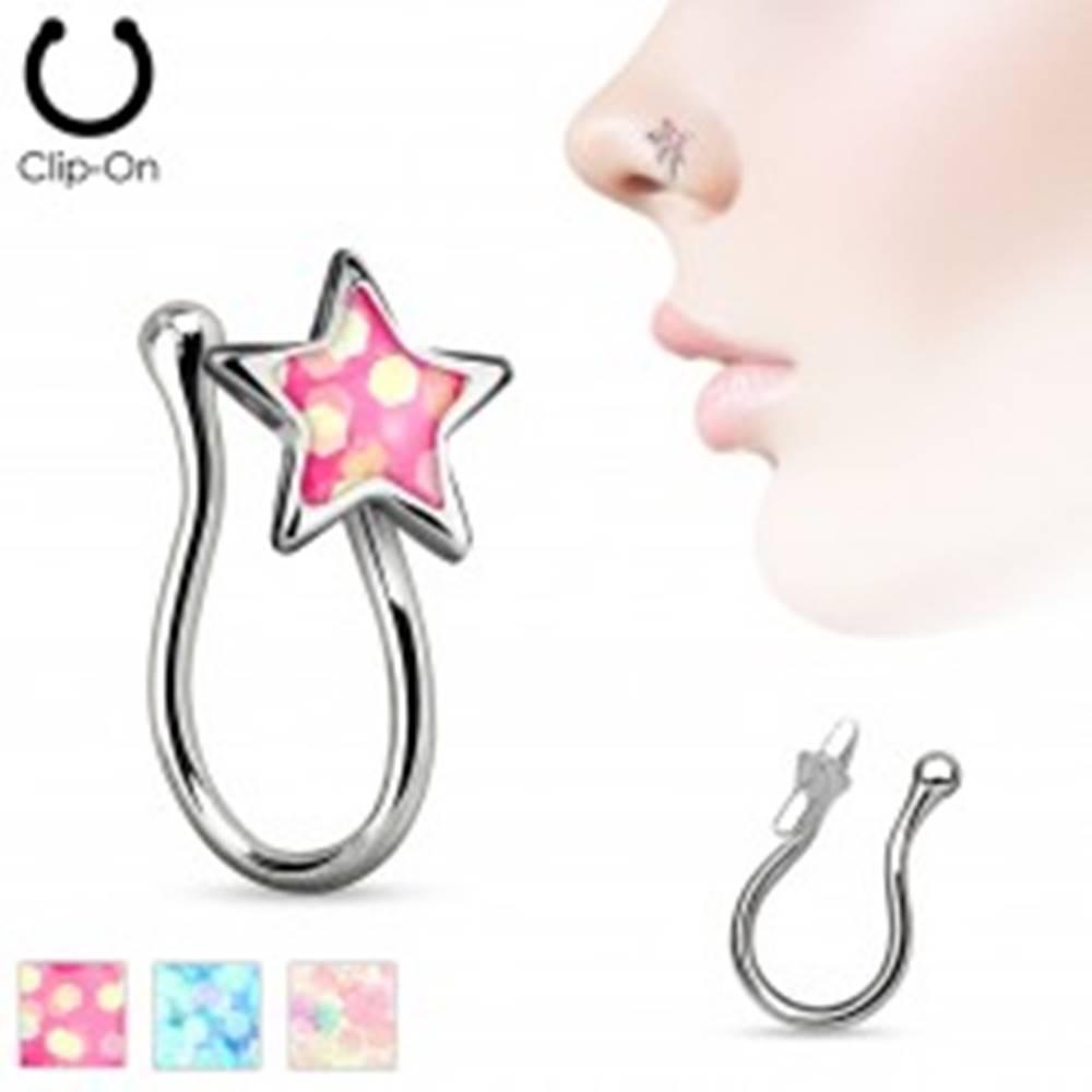 Šperky eshop Nepravý piercing do nosa z chirurgickej ocele, hviezdička s glitrovou glazúrou - Farba: Aqua modrá