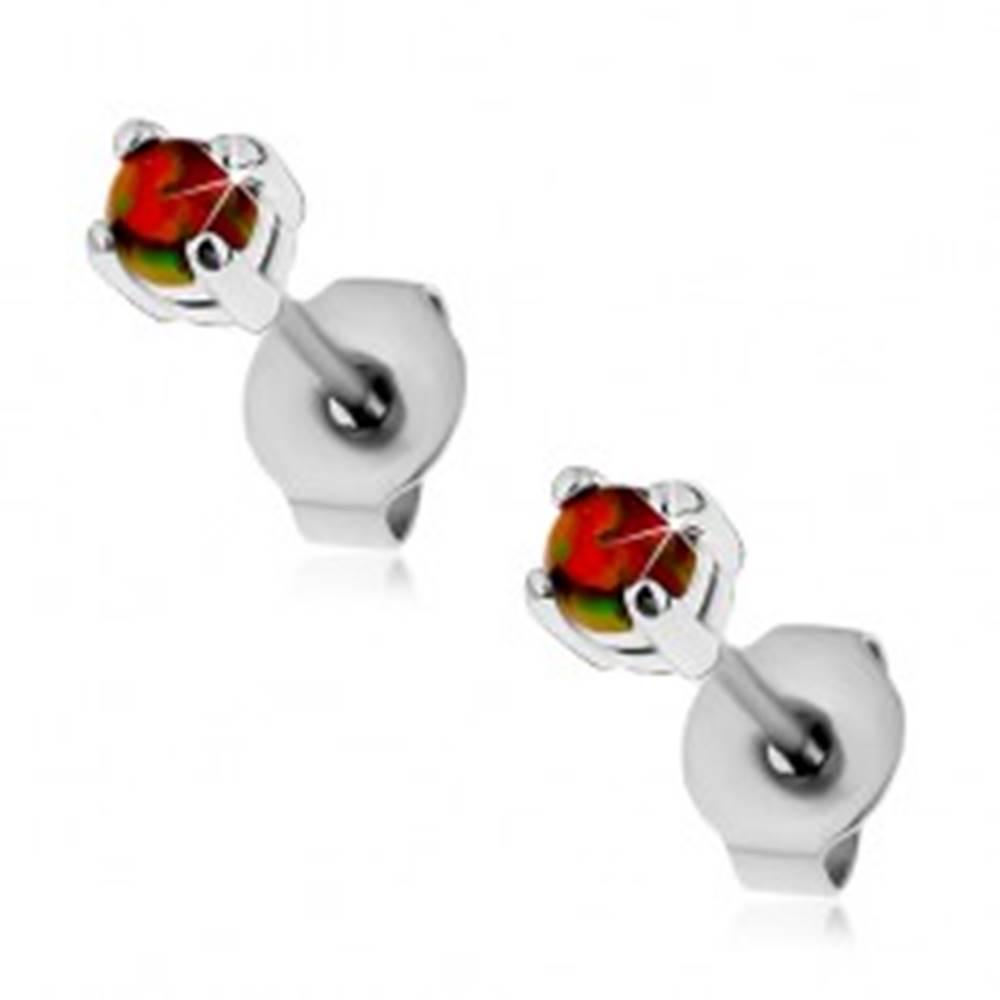 Šperky eshop Oceľové náušnice, oranžový syntetický opál, farebné odlesky, puzetky, 3 mm