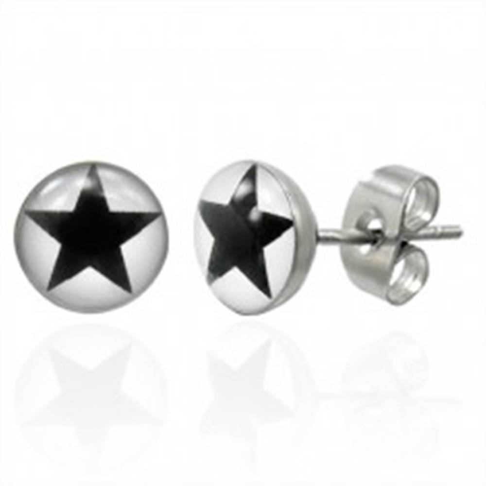 Šperky eshop Oceľové náušnice s čiernou hviezdičkou