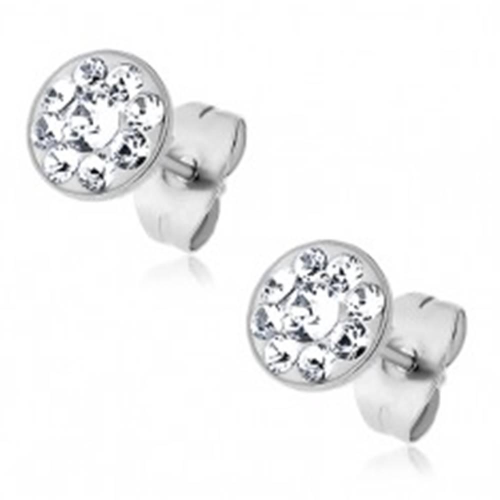 Šperky eshop Oceľové náušnice so vsadenými malými krištálikmi Swarovski