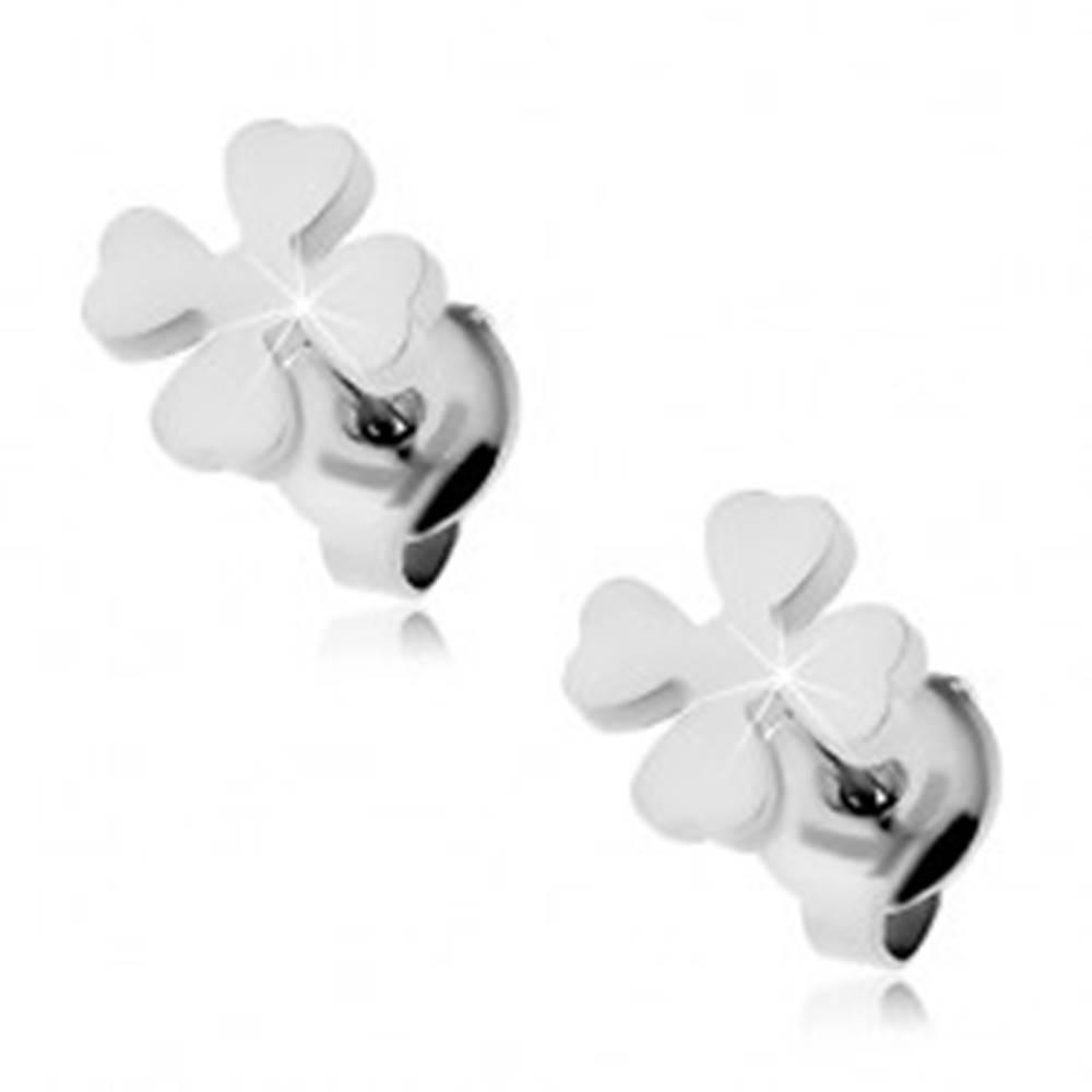 Šperky eshop Oceľové puzetové náušnice - lesklý štvorlístok pre šťastie