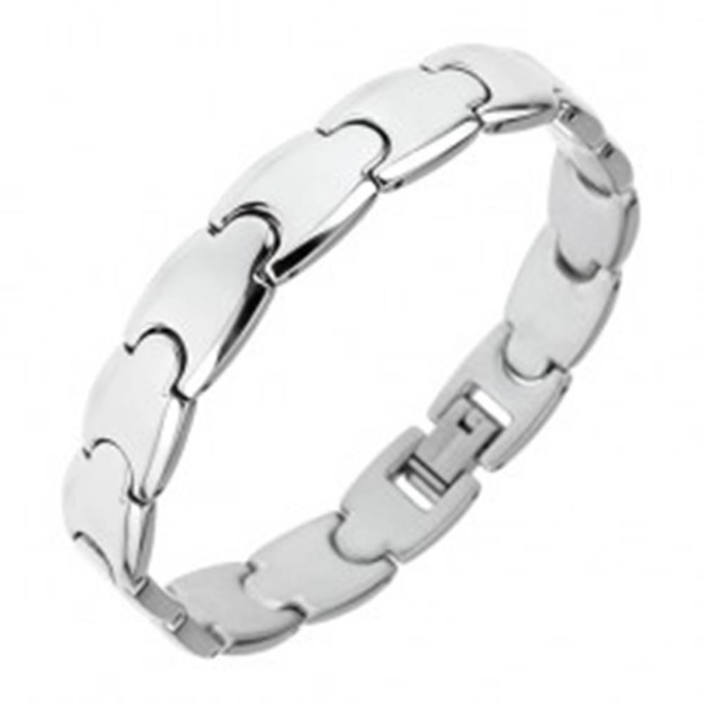 Šperky eshop Oceľový náramok - lesklé hladké Y články striebornej farby, 10 mm