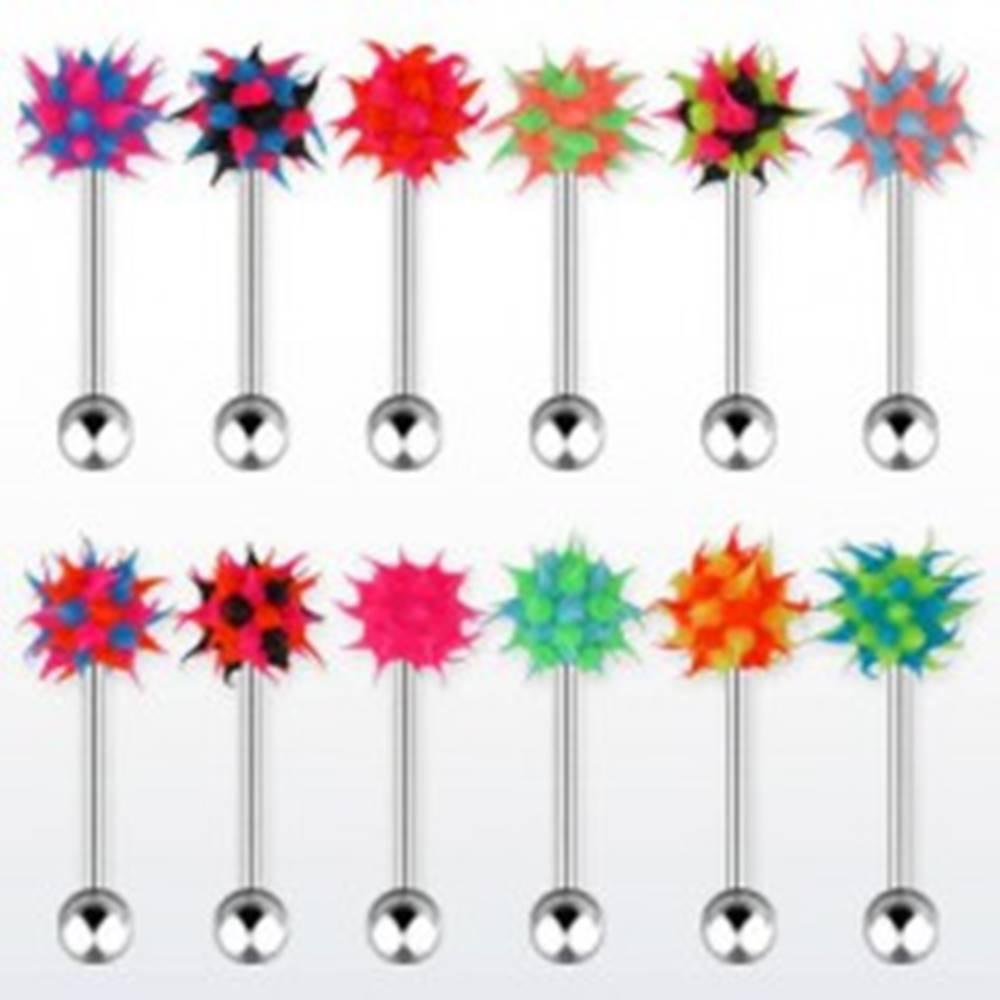 Šperky eshop Oceľový piercing do jazyka, viacfarebná silikónová hlavička - ježko - Farba piercing: Čierna - Modrá - Ružová