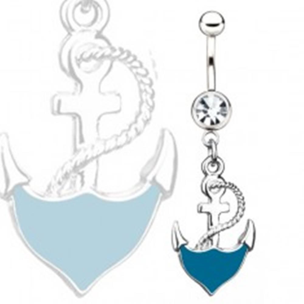 Šperky eshop Oceľový piercing do pupka - modrá kotva s lanom, číry kamienok